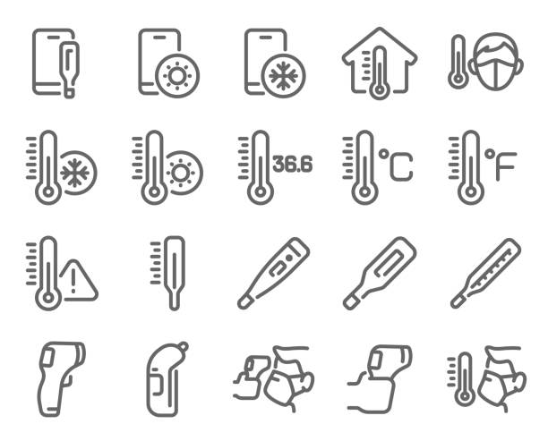 Thermometer icon set vector illustration. Contains such icon as Temperature Check, Screening, Scanning, Caution, Celsius, Fahrenheit and more. Expanded Stroke Thermometer icon set vector illustration. Contains such icon as Temperature Check, Screening, Scanning, Caution, Celsius, Fahrenheit and more. Expanded Stroke heat temperature stock illustrations