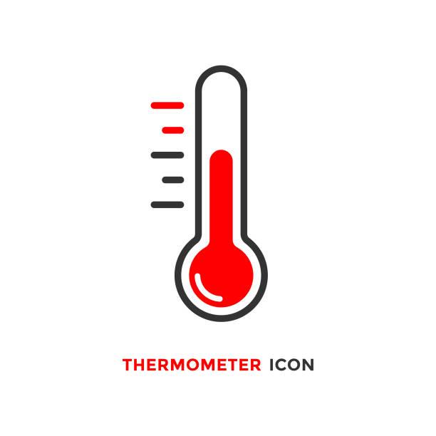 bildbanksillustrationer, clip art samt tecknat material och ikoner med termometer ikon vector design på vit bakgrund. - glödande