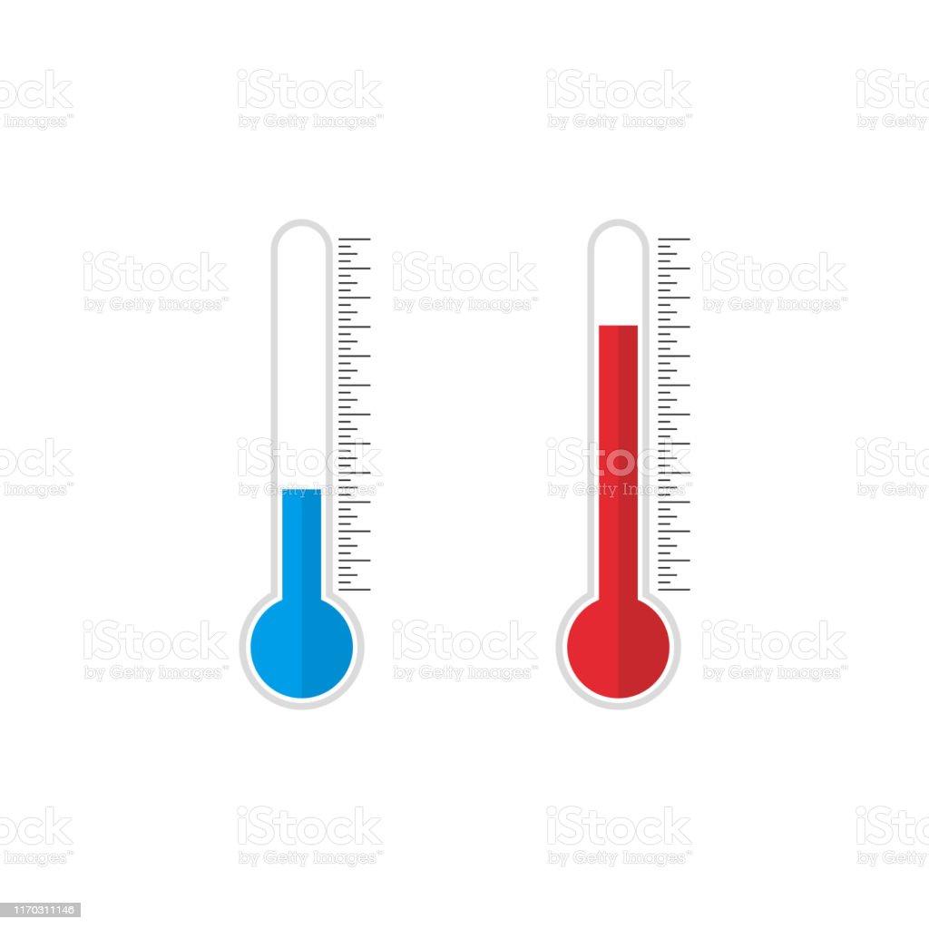 Termometer Ikon Med Blå Och Röda Indikatorer I Platt Stil Meteorologi Eller Medicinska Termometrar Som Mäter Varm Värme Och Kyla Termometer Ikon På
