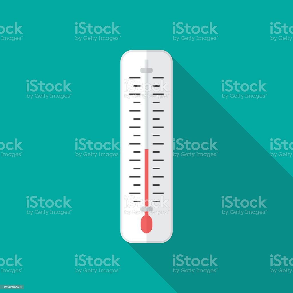 Thermometer icon with long shadow. vector art illustration