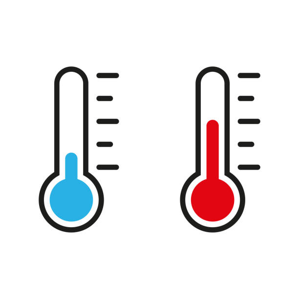 Thermometer illustration. Vector in flat design Thermometer illustration. Vector in flat design fever stock illustrations
