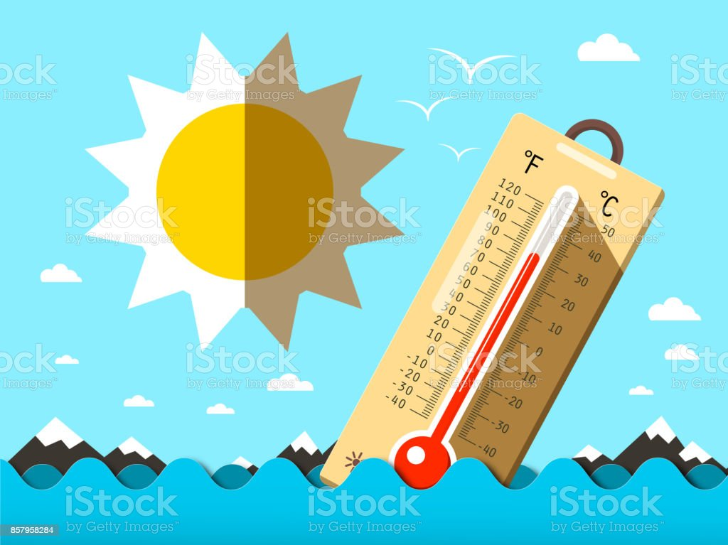 Thermometer in Ocean Waves vector art illustration
