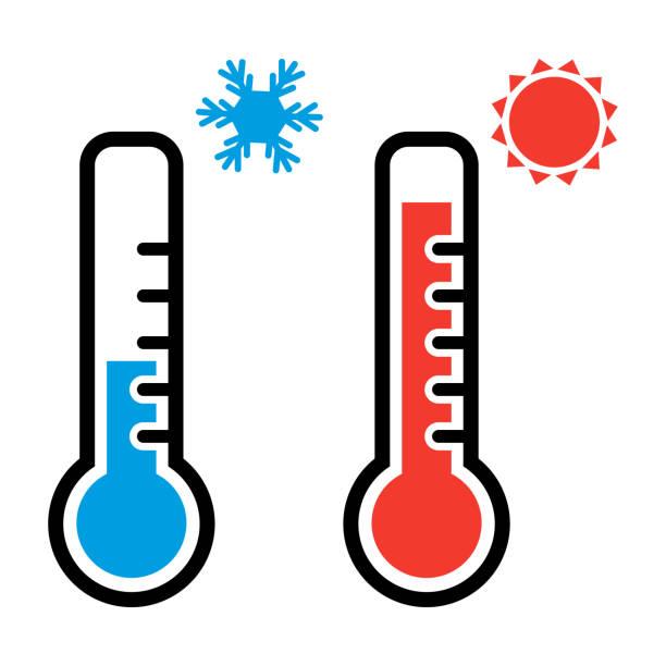 溫度計以紅色和藍色的顏色為炎熱和寒冷的天氣與雪花和太陽符號。向量插圖 - 寒冷的 幅插畫檔、美工圖案、卡通及圖標