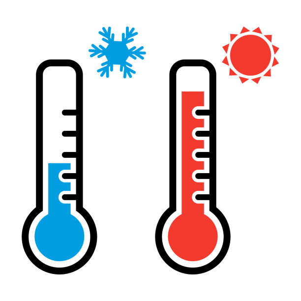 thermometer im roten und blauen farben für warmes und kaltes wetter mit schneeflocke und sonne symbole. vektor-illustration - wärme stock-grafiken, -clipart, -cartoons und -symbole