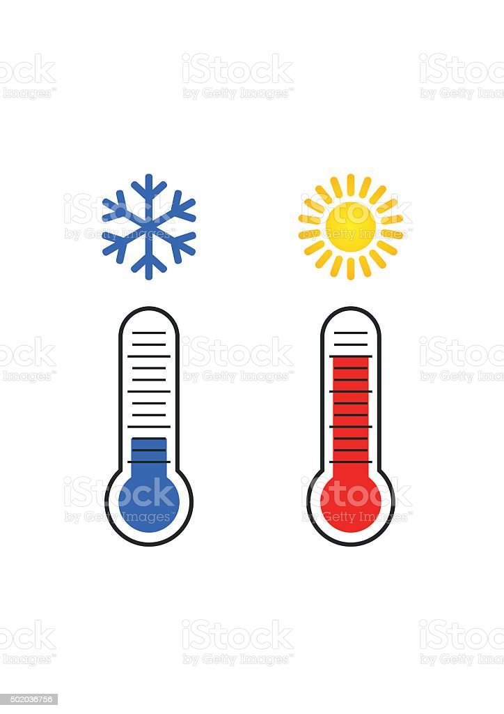 Thermometer measuring Heat and Cold, with Sun, Snowflake icons. vector art illustration