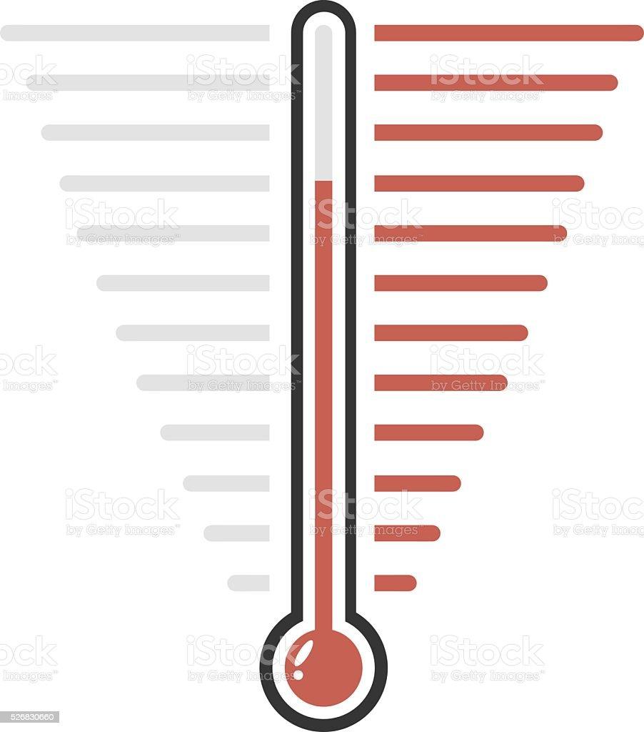 Thermometer red goal vector flat design vector art illustration