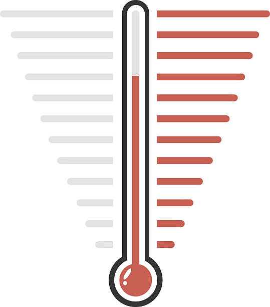 Thermometer red goal vector flat design vector art illustration