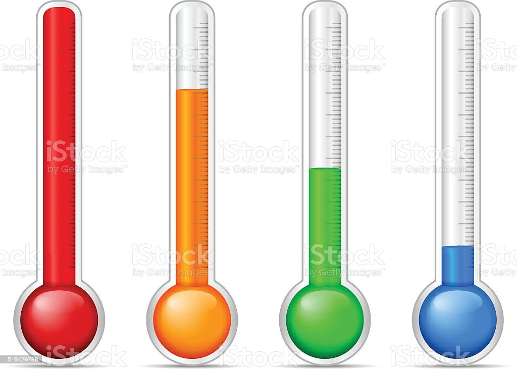 Thermometer set vector art illustration