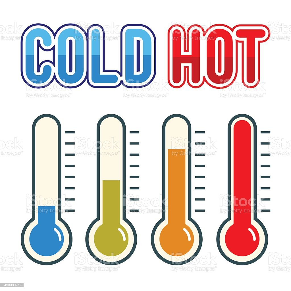 Thermometer Symbol Hot And Cold vector art illustration