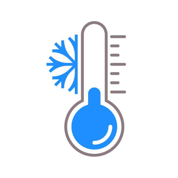 ilustraciones, imágenes clip art, dibujos animados e iconos de stock de icono de vector de termómetro con escala de temperatura fría nieve de invierno - frío