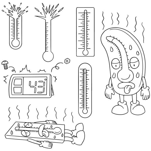 thermometer vector set of thermometer heat wave stock illustrations
