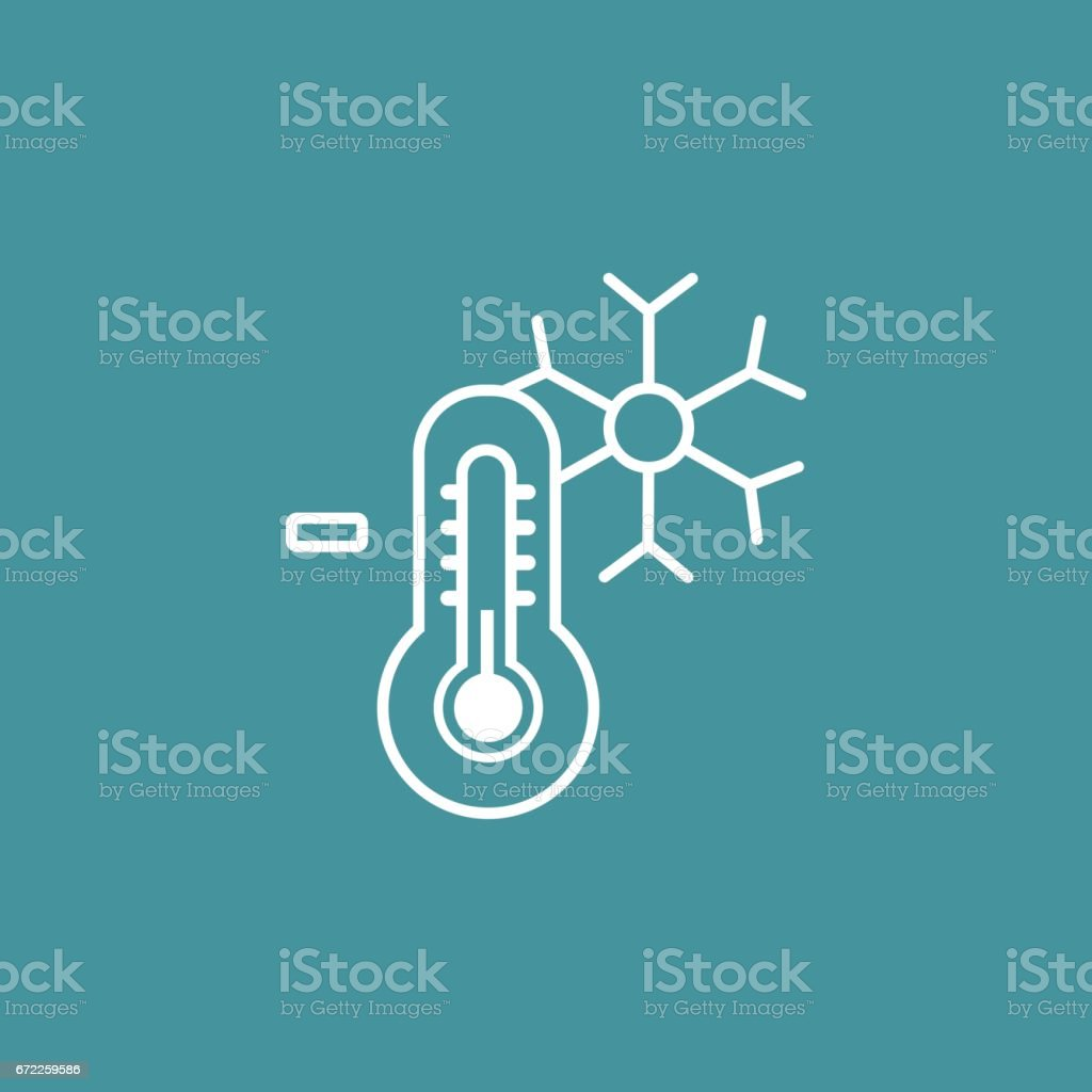 thermometer with snowflakes vector art illustration