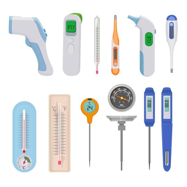 stockillustraties, clipart, cartoons en iconen met thermometers. verschil warme en koude temperatuur meettellers indicatoren hoge en lage vectorafbeeldingen - thermometer