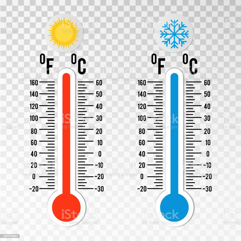 Thermometers in flat style. Hot and cold temperature.  Meteorology design element on transparent background. - Royalty-free Blue stock vector