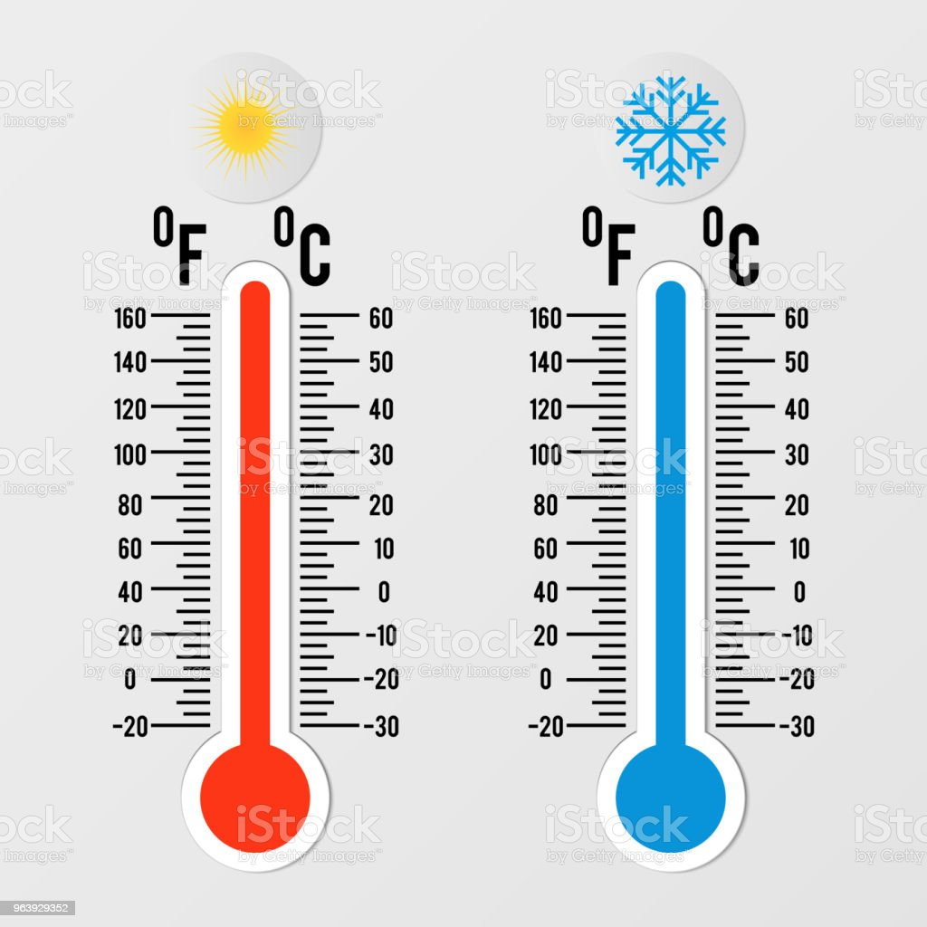 Thermometers in flat style. Hot and cold temperature. Meteorology design element. - Royalty-free Blue stock vector