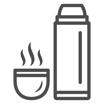 Thermos and hot tea in mug line icon, World snowboard day concept, Vacuum Flask sign on white background, Thermos Bottle and cup with hot drink icon in outline style. Vector graphics