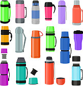 istock Thermos vector vacuum flask or bottle with hot drink coffee or tea illustration set of metal bottled container or aluminum mug isolated on white background 1027191262