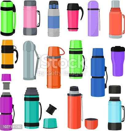 Thermos vector vacuum flask or bottle with hot drink coffee or tea illustration set of metal bottled container or aluminum mug isolated on white background.