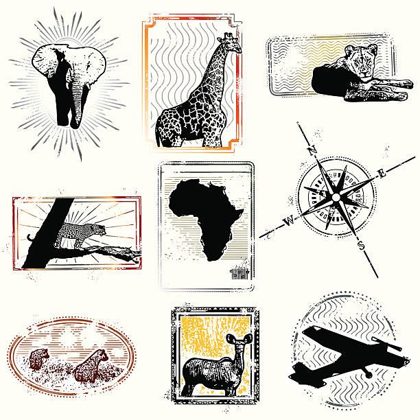 ilustraciones, imágenes clip art, dibujos animados e iconos de stock de los sellos de la libertad están siempre he tenido. - viaje a áfrica