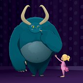 Little girl calms a nervous monster. Layered Vector illustration with high-res .jpg.