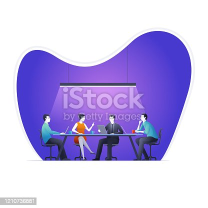 istock They discuss financial or business ideas on meeting. 1210736881