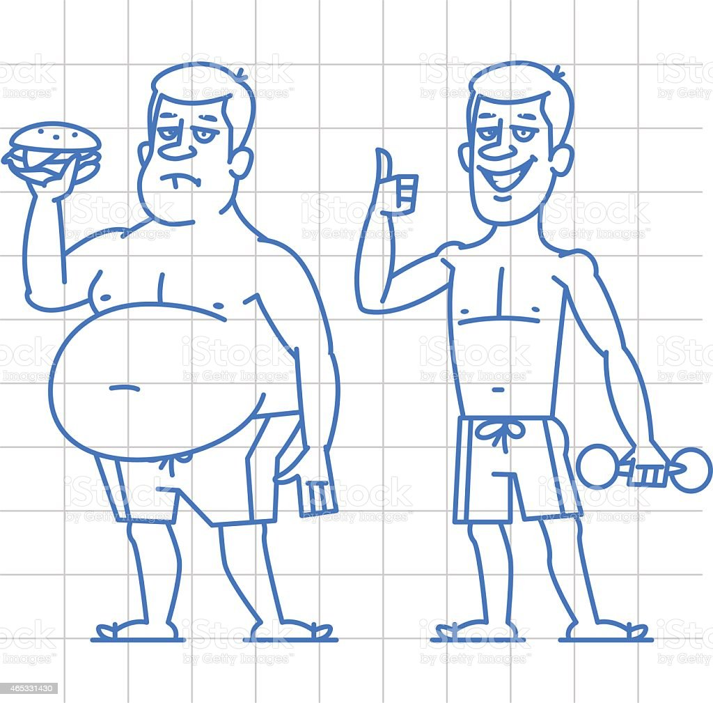 Thick and thin man characters doodle vector art illustration