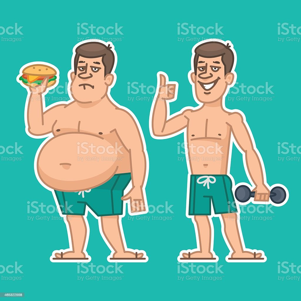 Thick and thin man characters vector art illustration