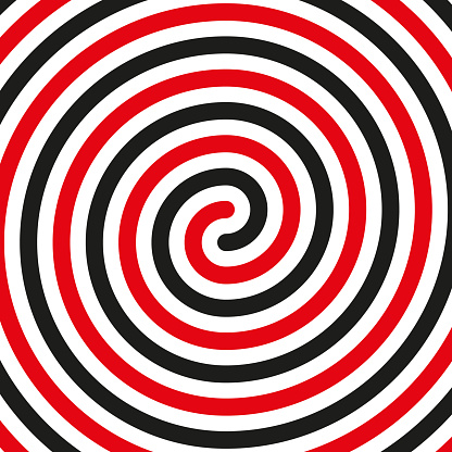 Thick black double spiral symbol. Simple flat vector design element in black and red