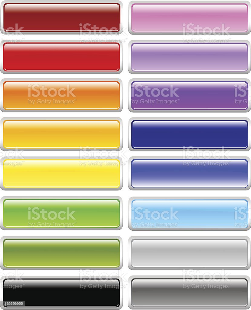 Thick Bordered Rectangle Menu Buttons royalty-free stock vector art
