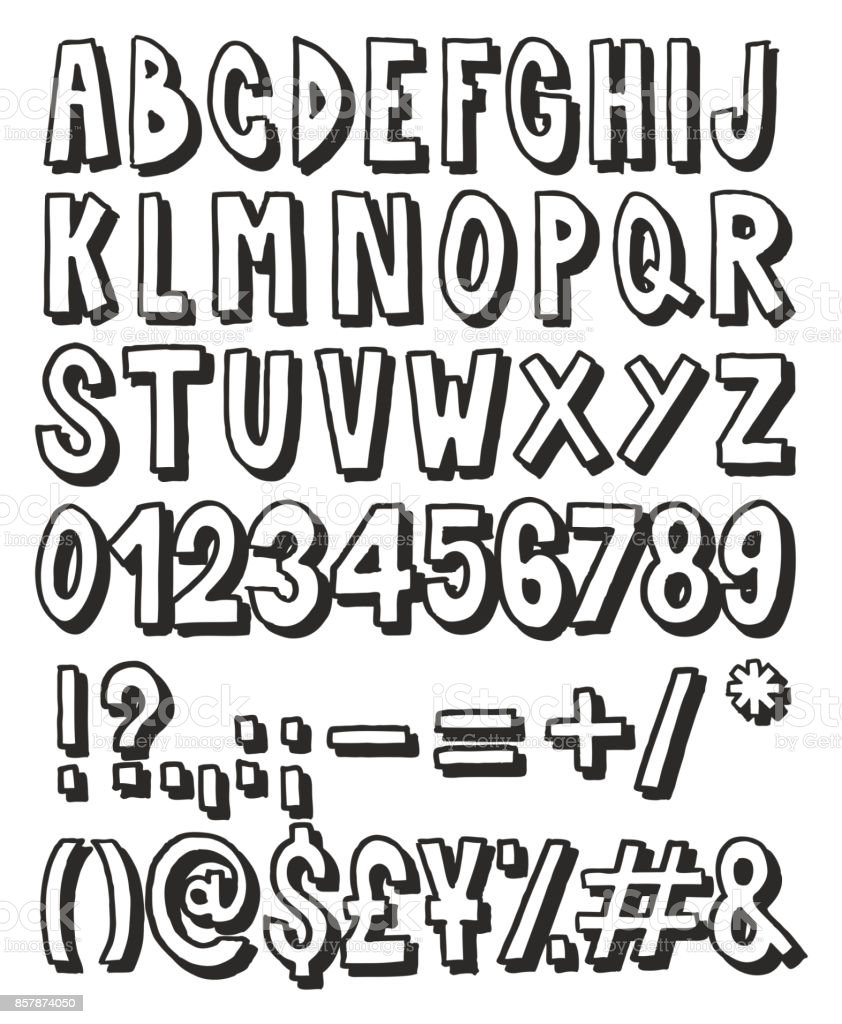 Thick Doodle Handwritten Outline With Shadow Alphabet Numbers Signs Marker Pen Royalty