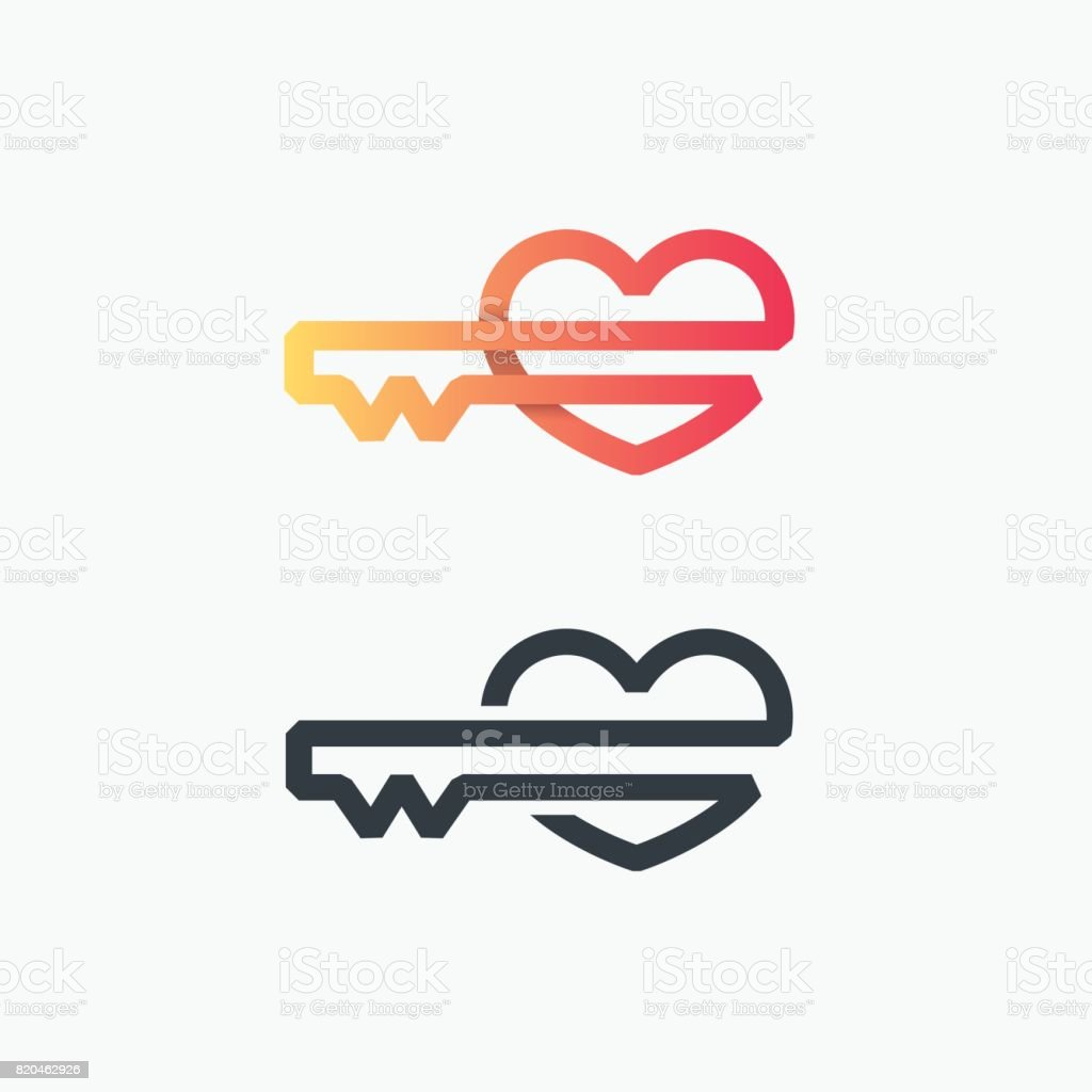 Thick Line Vector Symbol Of Heart Key Stock Vector Art More Images