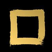 Thick strokes frame. Hand-drawn strokes. Gold texture. vector strokes