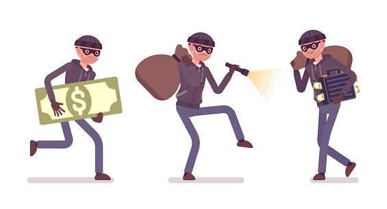Thief, a masked man stealing money