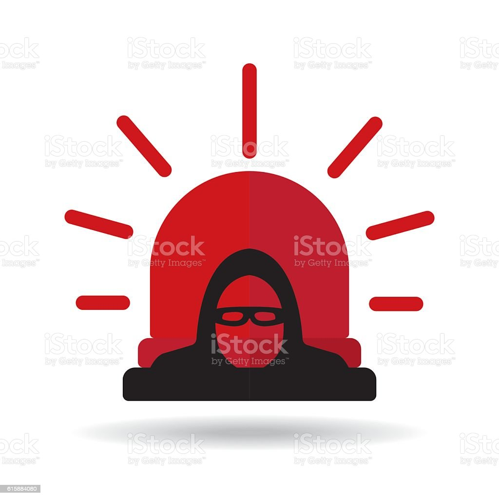 Thief alert vector vector art illustration
