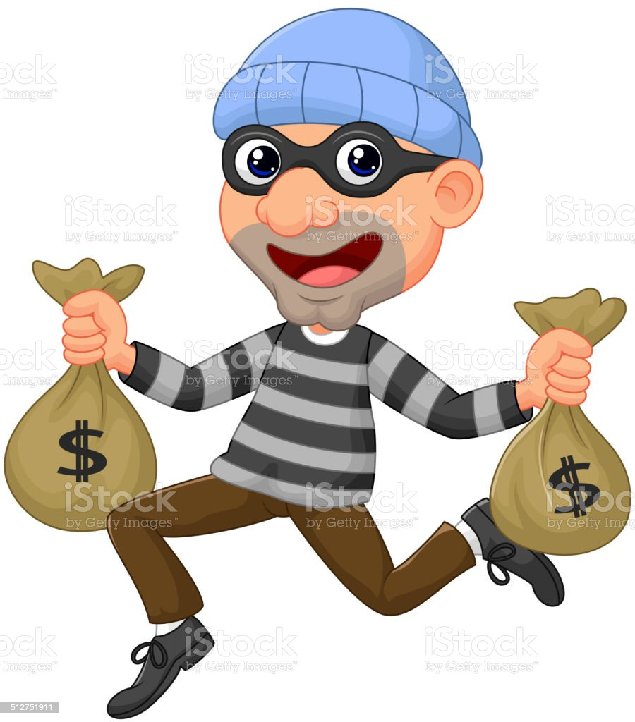 Bag With Money Sign Cartoon: Thief Cartoon Carrying Bag Of Money With A Dollar Sign