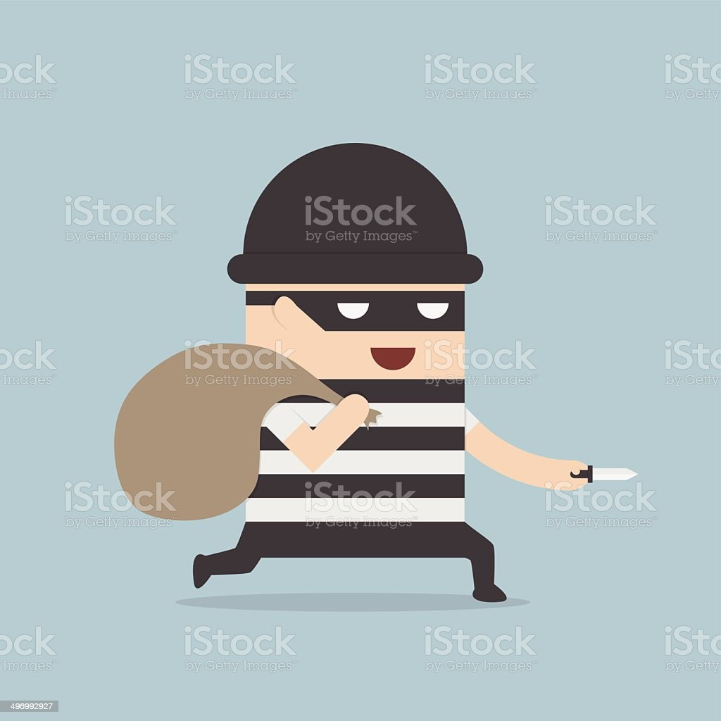 Thief cartoon vector art illustration