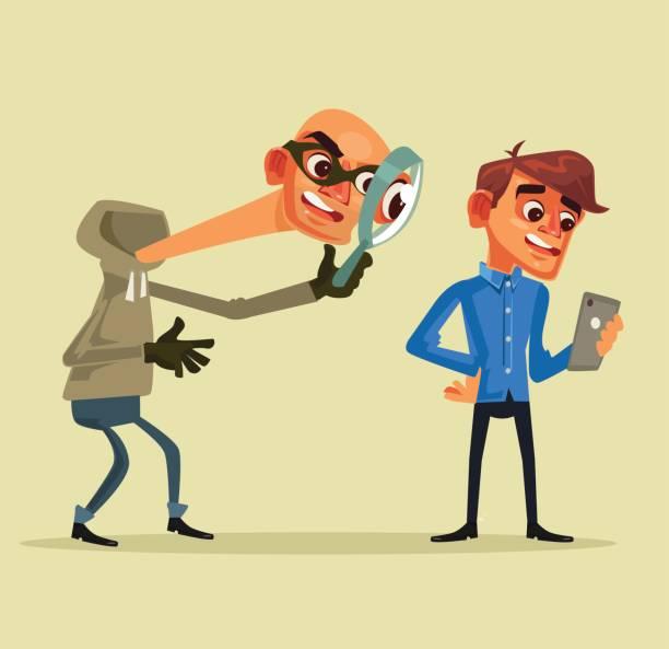 Carácter de ladrón roba datos personales. Concepto de pesca - ilustración de arte vectorial