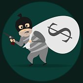 Vector Cartoon Illustration Robber In Mask