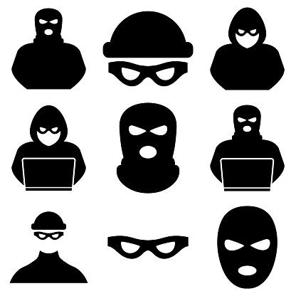 Thief, criminal, robber icon, logo isolated on white background