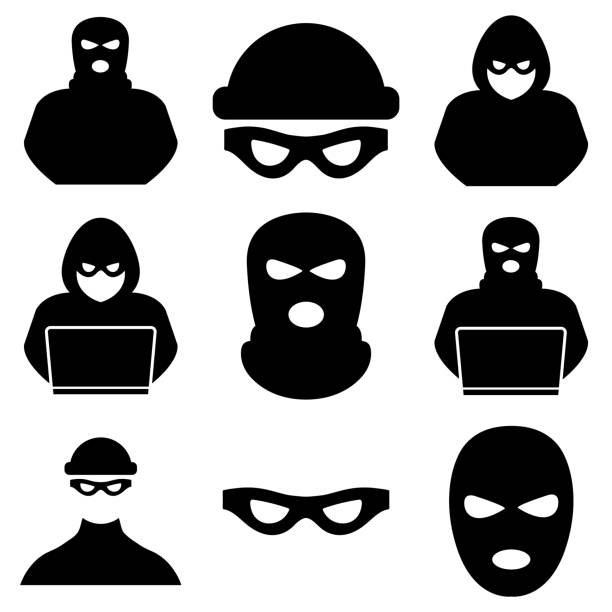 Thief, criminal, robber icon, logo isolated on white background Thief, criminal, robber icon, logo isolated on white background bandit stock illustrations
