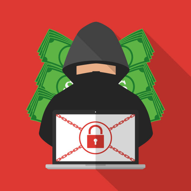 Thief hacker locked victim computer laptop for ransom with ransomware malware virus computer with banknote background. Vector illustration cybercrime technology data privacy and security concept. vector art illustration