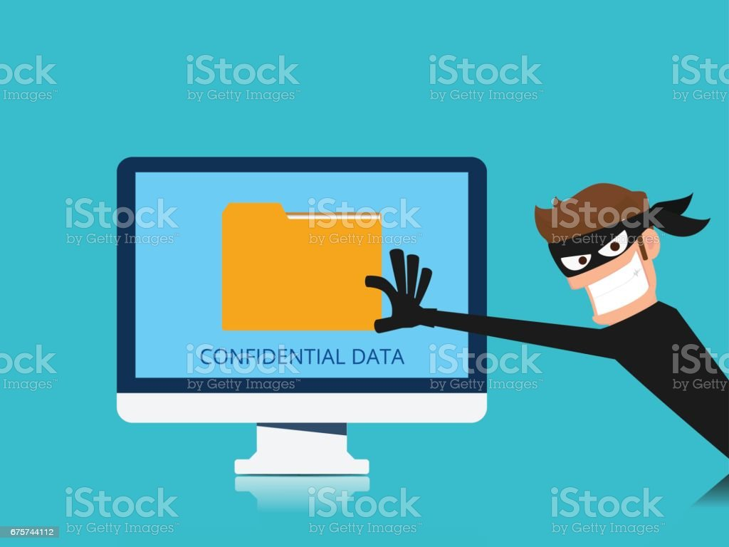 Thief. Hacker stealing confidential data document folder from computer useful for anti phishing and internet viruses campaigns. concept hacking internet social network. vector art illustration