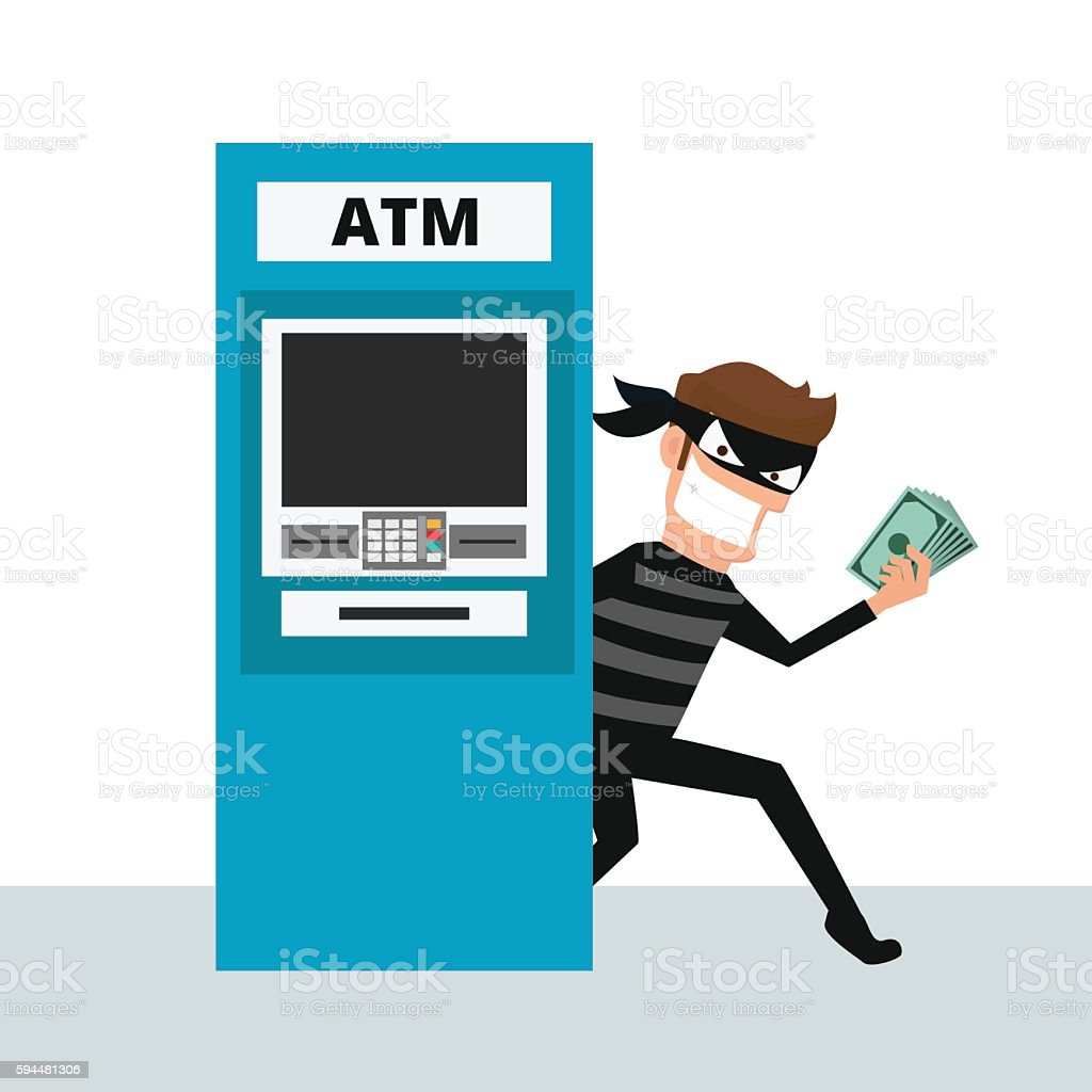 Thief. Hacker stealing money from ATM machine. vector art illustration