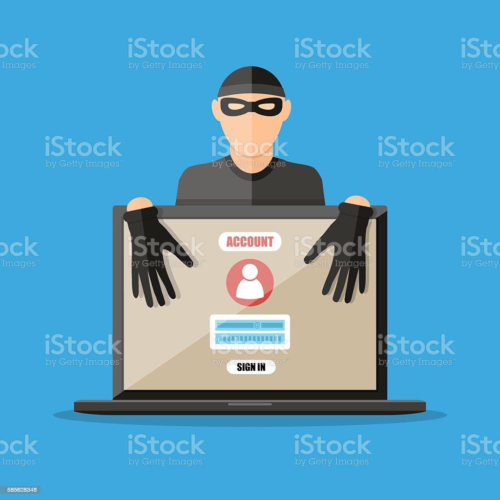 Thief hacker stealing passwords from laptop vector art illustration