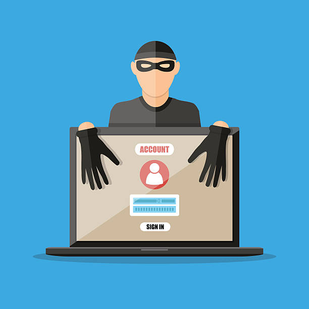 Thief hacker stealing passwords from laptop - Illustration vectorielle