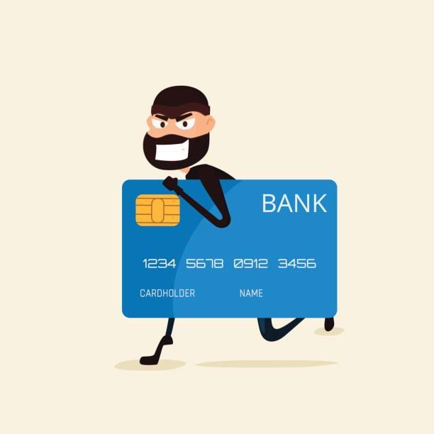 Ladrón. Hackers robando datos confidenciales y dinero de tarjeta de crédito. Útil para anti phishing y internet campañas de virus. red social de hacking internet concepto - ilustración de arte vectorial