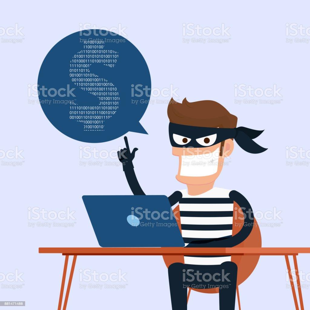 Dieb. Hacker stehlen vertrauliche Daten wie Kennwörter von einem Personal Computer nützlich für anti-Phishing und Internet Viren campaigns.concept Internet soziales Netzwerk zu hacken. – Vektorgrafik
