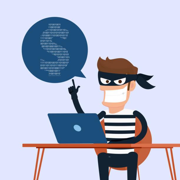 ilustrações, clipart, desenhos animados e ícones de ladrão. hacker de roubar dados confidenciais, como senhas de um computador pessoal útil para anti-phishing e internet campaigns.concept vírus invadindo internet rede social. - roubo de identidade