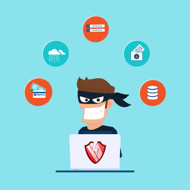 thief. hacker stealing sensitive data as passwords from a personal computer useful for anti phishing and internet viruses campaigns. concept hacking internet social network. - identity theft stock illustrations, clip art, cartoons, & icons