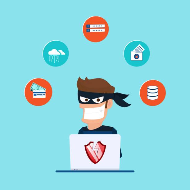 ilustrações, clipart, desenhos animados e ícones de ladrão. hacker de roubar dados confidenciais, como senhas de um computador pessoal útil para anti-phishing e internet campanhas de vírus. conceito hacking internet rede social. - roubo de identidade